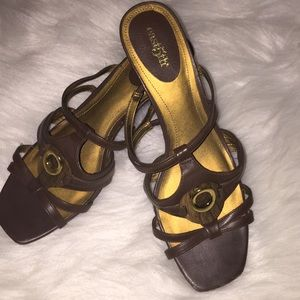 East5th Brown Strappy Wedge Heel Sandals
